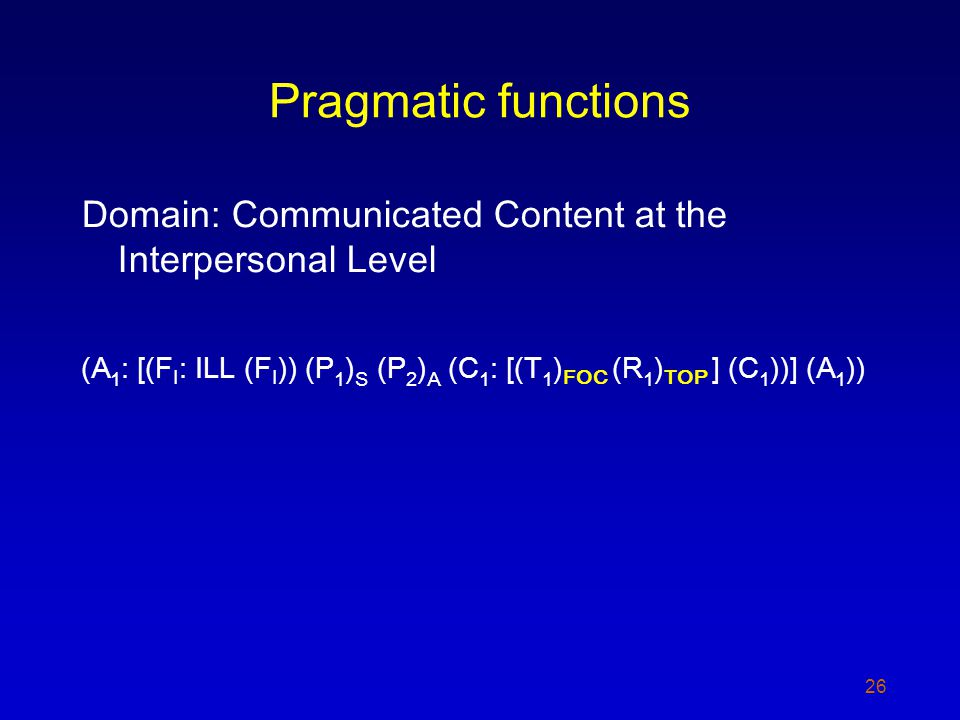 Pragmatic functions Domain: Communicated Content at the Interpersonal Level (A 1 : [(F I : ILL (F I )) (P 1 ) S (P 2 ) A (C 1 : [(T 1 ) FOC (R 1 ) TOP ] (C 1 ))] (A 1 )) 26