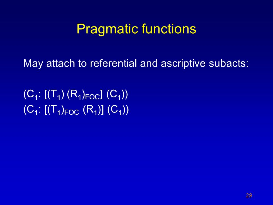 Pragmatic functions May attach to referential and ascriptive subacts: (C 1 : [(T 1 ) (R 1 ) FOC ] (C 1 )) (C 1 : [(T 1 ) FOC (R 1 )] (C 1 )) 29