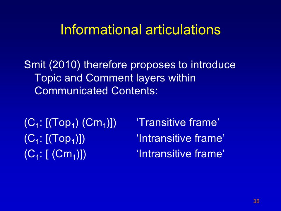 Informational articulations Smit (2010) therefore proposes to introduce Topic and Comment layers within Communicated Contents: (C 1 : [(Top 1 ) (Cm 1 )])Transitive frame (C 1 : [(Top 1 )])Intransitive frame (C 1 : [ (Cm 1 )])Intransitive frame 38