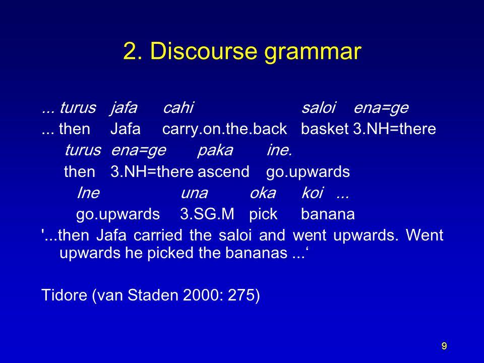 9 2. Discourse grammar... turusjafacahisaloiena=ge... thenJafacarry.on.the.backbasket3.NH=there turus ena=ge pakaine. then3.NH=there ascendgo.upwards