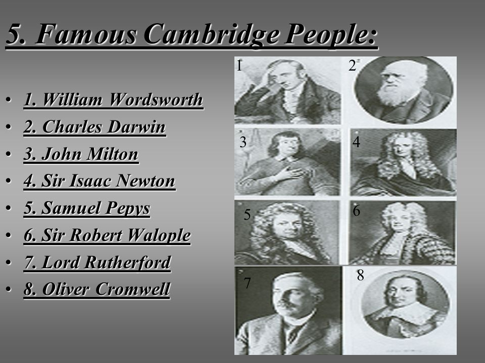 5. Famous Cambridge People: 1. William Wordsworth1. William Wordsworth 2. Charles Darwin2. Charles Darwin 3. John Milton3. John Milton 4. Sir Isaac Ne
