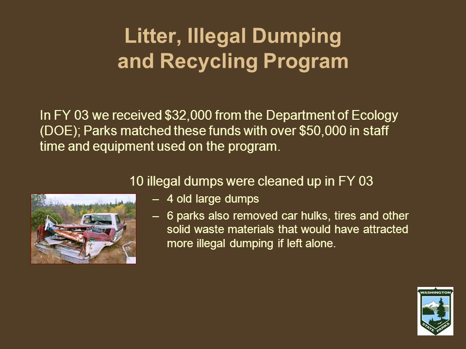 Litter, Illegal Dumping and Recycling Program 10 illegal dumps were cleaned up in FY 03 –4 old large dumps –6 parks also removed car hulks, tires and other solid waste materials that would have attracted more illegal dumping if left alone.