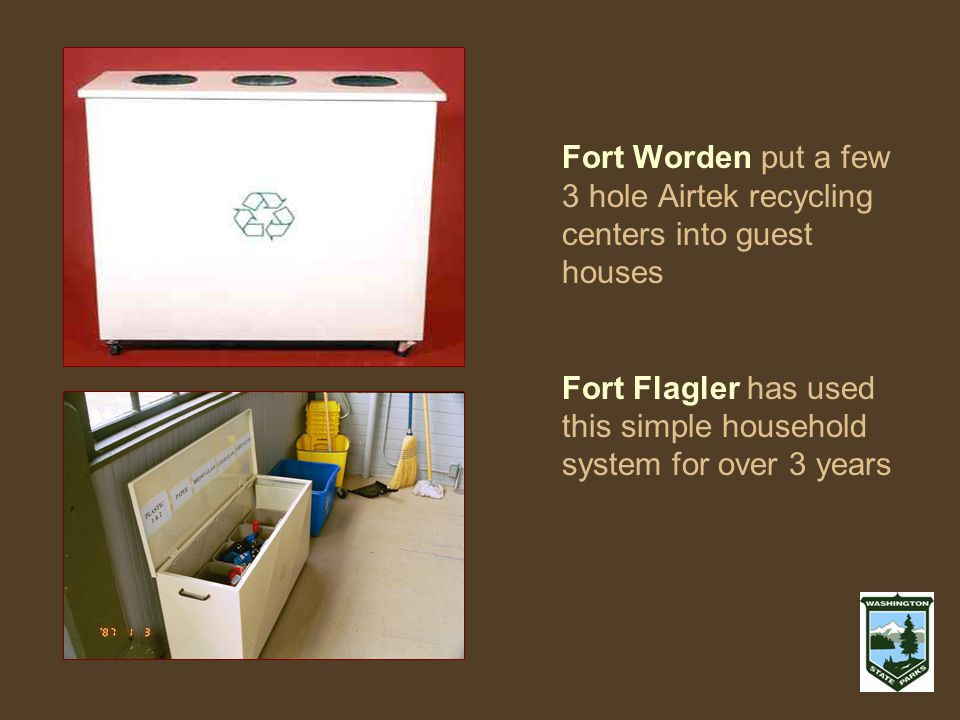 Fort Worden put a few 3 hole Airtek recycling centers into guest houses Fort Flagler has used this simple household system for over 3 years