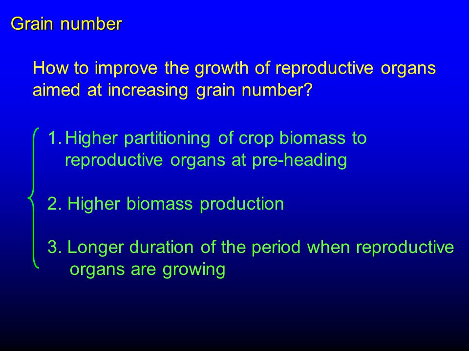 How to improve the growth of reproductive organs aimed at increasing grain number.