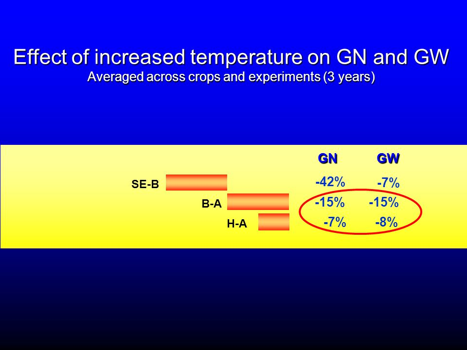 Effect of increased temperature on GN and GW Averaged across crops and experiments (3 years) H-A -7% B-A -15% SE-B -7% GNGW GN GW -8% -42%