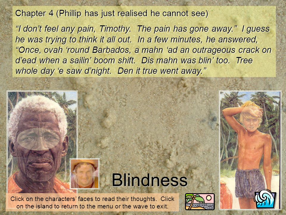 Blindness Chapter 4 (Phillip has just realised he cannot see) I dont feel any pain, Timothy. The pain has gone away. I guess he was trying to think it