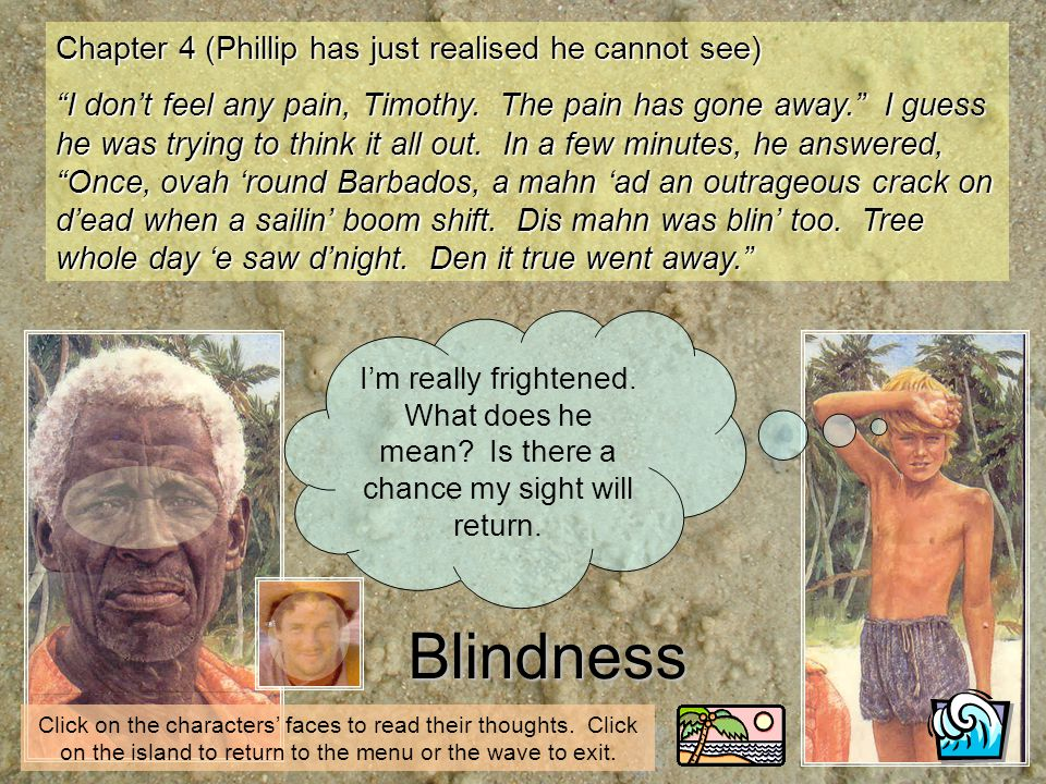Blindness Im really frightened. What does he mean? Is there a chance my sight will return. Chapter 4 (Phillip has just realised he cannot see) I dont