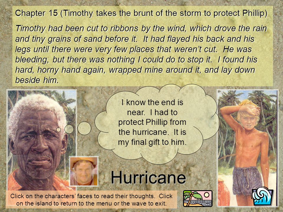 Hurricane Click on the characters faces to read their thoughts. Click on the island to return to the menu or the wave to exit. Chapter 15 (Timothy tak