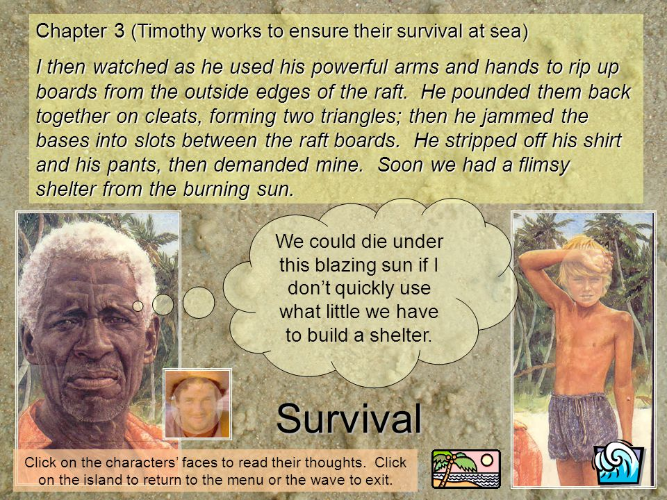 Worried Chapter 7 (Timothy has realised where their cay lies) I said, You are worried about something, Timothy.