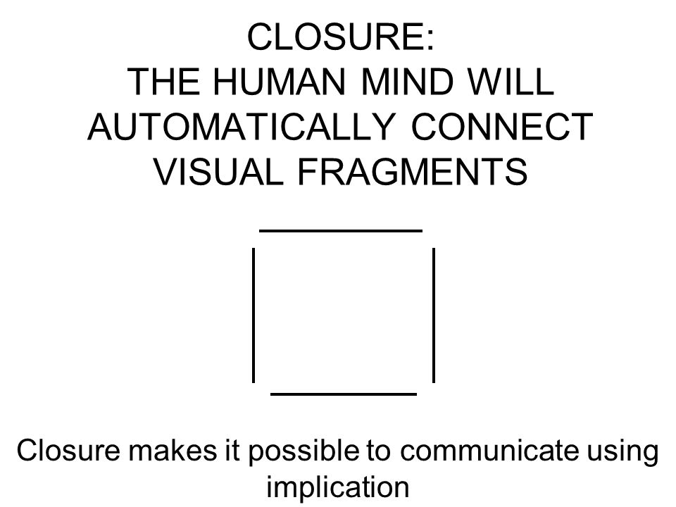 CLOSURE: THE HUMAN MIND WILL AUTOMATICALLY CONNECT VISUAL FRAGMENTS Closure makes it possible to communicate using implication