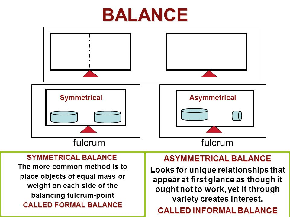 BALANCE SYMMETRICAL BALANCE SYMMETRICAL BALANCE The more common method is to place objects of equal mass or weight on each side of the balancing fulcr