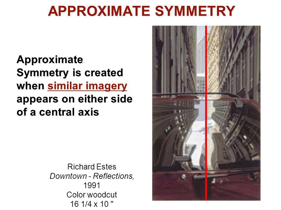APPROXIMATE SYMMETRY Richard Estes Downtown - Reflections, 1991 Color woodcut 16 1/4 x 10
