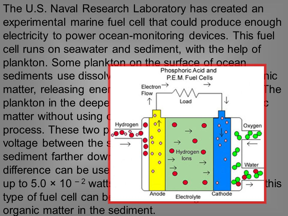 The U.S. Naval Research Laboratory has created an experimental marine fuel cell that could produce enough electricity to power ocean-monitoring device