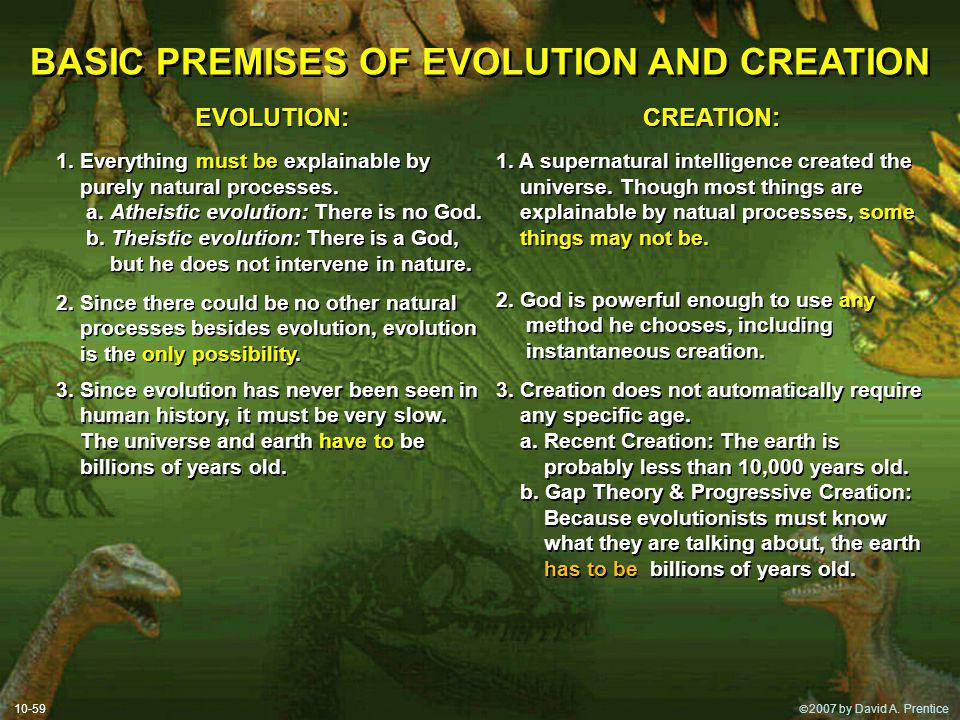 2007 by David A. Prentice BASIC PREMISES OF EVOLUTION AND CREATION EVOLUTION: 1.