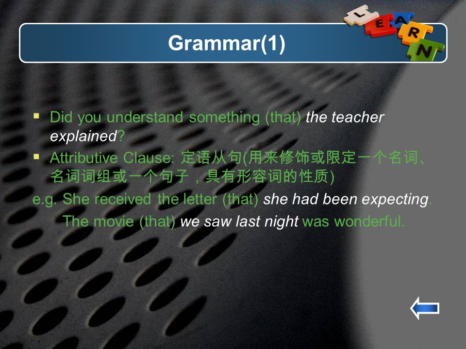 Grammar(1) Did you understand something (that) the teacher explained.