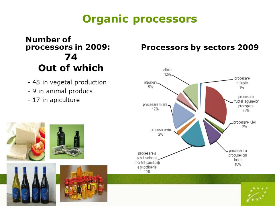 Organic processors Number of processors in 2009: 74 Out of which - 48 in vegetal production - 9 in animal producs - 17 in apiculture Processors by sectors 2009 14