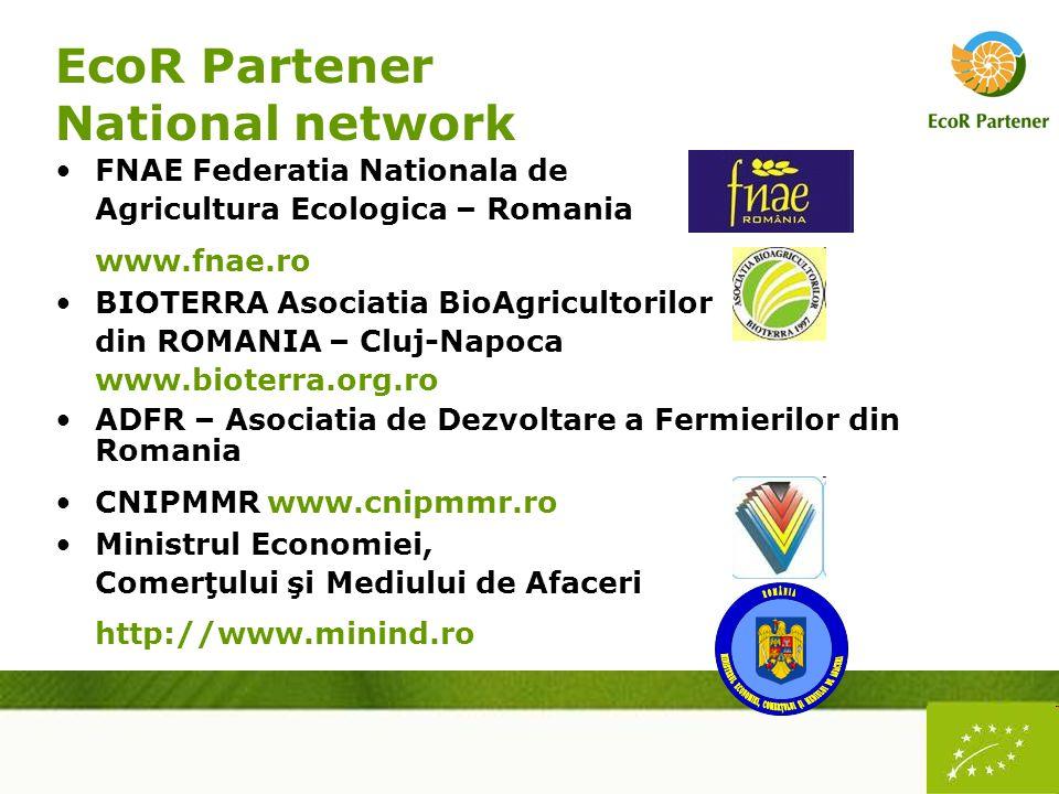 EcoR Partener National network FNAE Federatia Nationala de Agricultura Ecologica – Romania www.fnae.ro BIOTERRA Asociatia BioAgricultorilor din ROMANIA – Cluj-Napoca www.bioterra.org.ro ADFR – Asociatia de Dezvoltare a Fermierilor din Romania CNIPMMR www.cnipmmr.ro Ministrul Economiei, Comerţului şi Mediului de Afaceri http://www.minind.ro