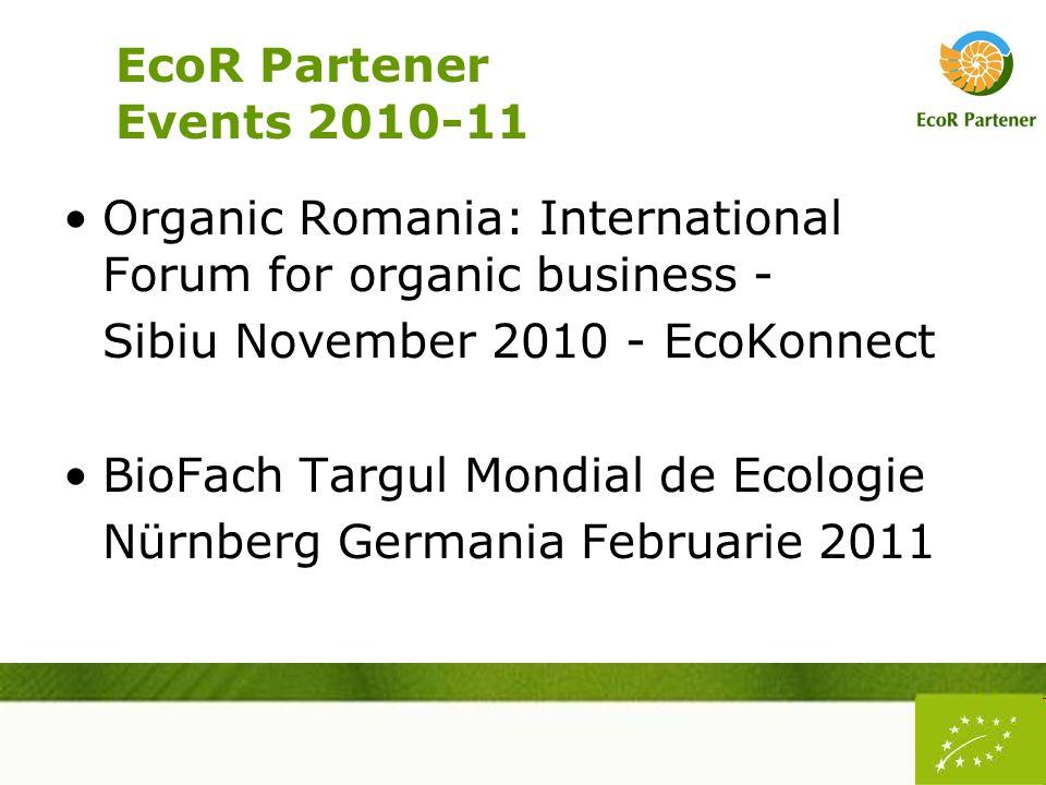 EcoR Partener Events 2010-11 Organic Romania: International Forum for organic business - Sibiu November 2010 - EcoKonnect BioFach Targul Mondial de Ecologie Nürnberg Germania Februarie 2011