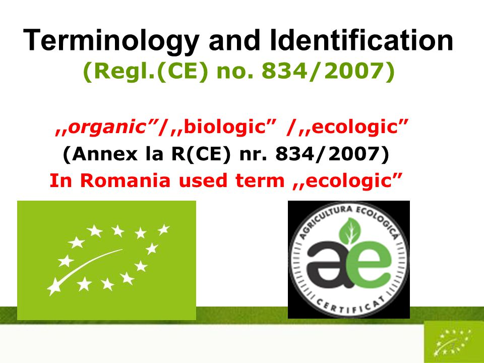 Terminology and Identification (Regl.(CE) no.