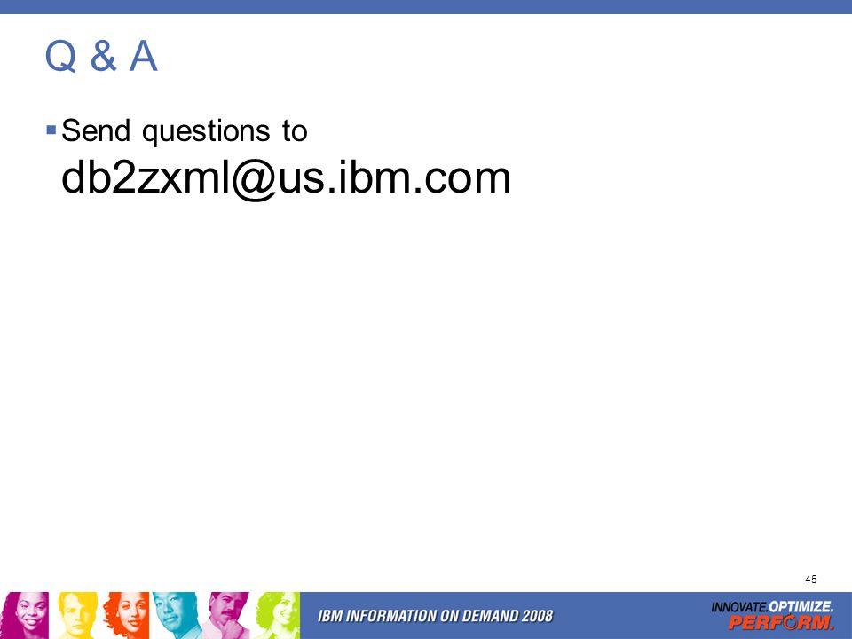 45 Q & A Send questions to db2zxml@us.ibm.com