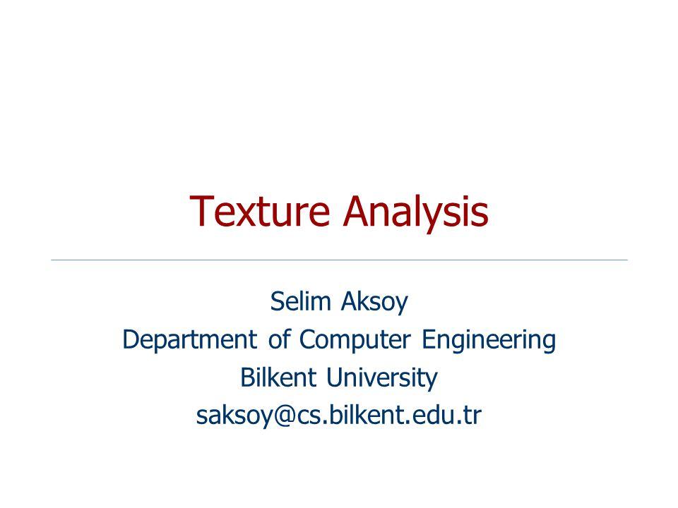 Texture Analysis Selim Aksoy Department of Computer Engineering Bilkent University saksoy@cs.bilkent.edu.tr