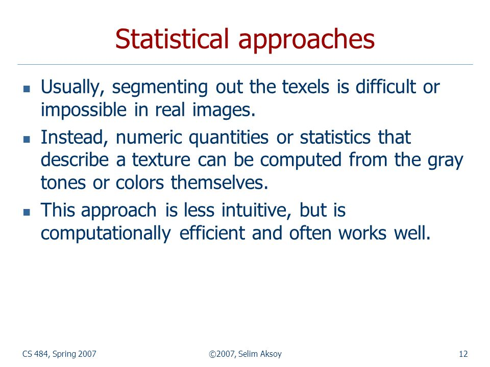CS 484, Spring 2007©2007, Selim Aksoy12 Statistical approaches Usually, segmenting out the texels is difficult or impossible in real images. Instead,
