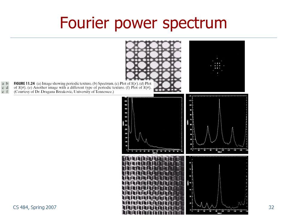 CS 484, Spring 2007©2007, Selim Aksoy32 Fourier power spectrum