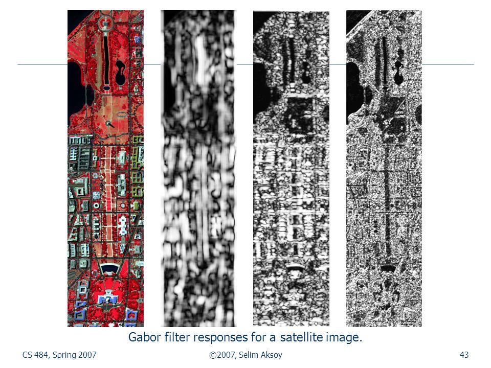 CS 484, Spring 2007©2007, Selim Aksoy43 Gabor filter responses for a satellite image.