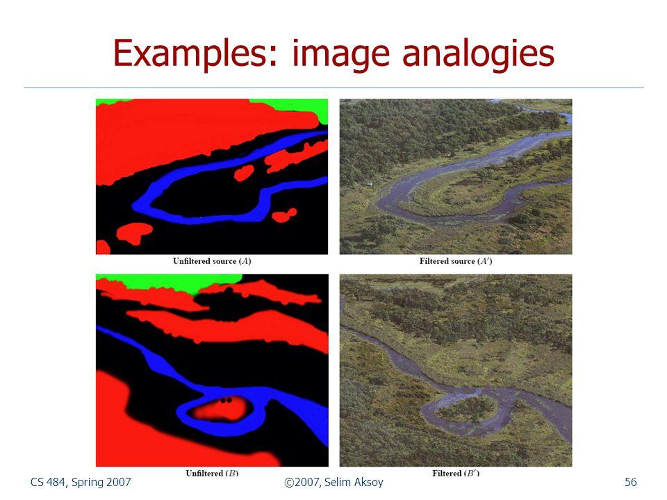 CS 484, Spring 2007©2007, Selim Aksoy56 Examples: image analogies