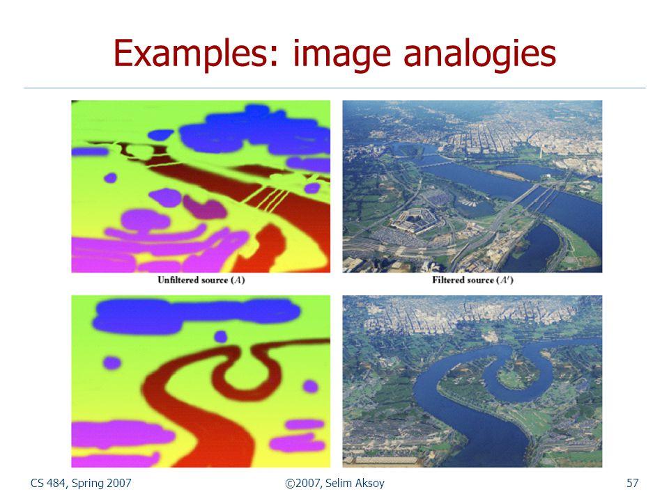 CS 484, Spring 2007©2007, Selim Aksoy57 Examples: image analogies