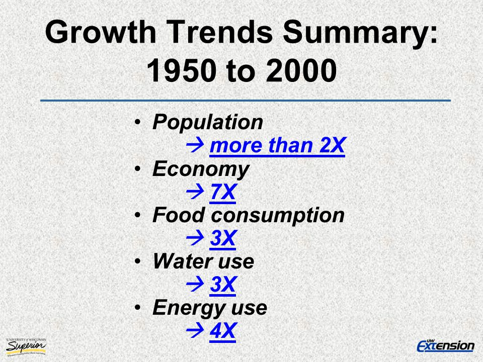 Growth Trends Summary: 1950 to 2000 Population more than 2X Economy 7X Food consumption 3X Water use 3X Energy use 4X