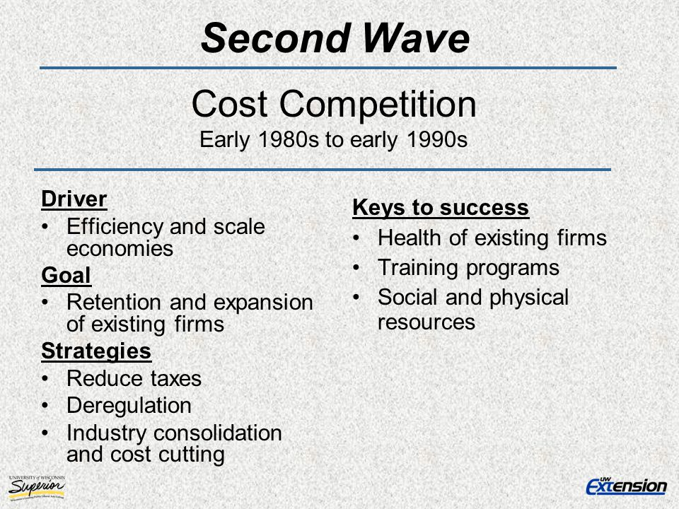 Second Wave Cost Competition Early 1980s to early 1990s Driver Efficiency and scale economies Goal Retention and expansion of existing firms Strategie