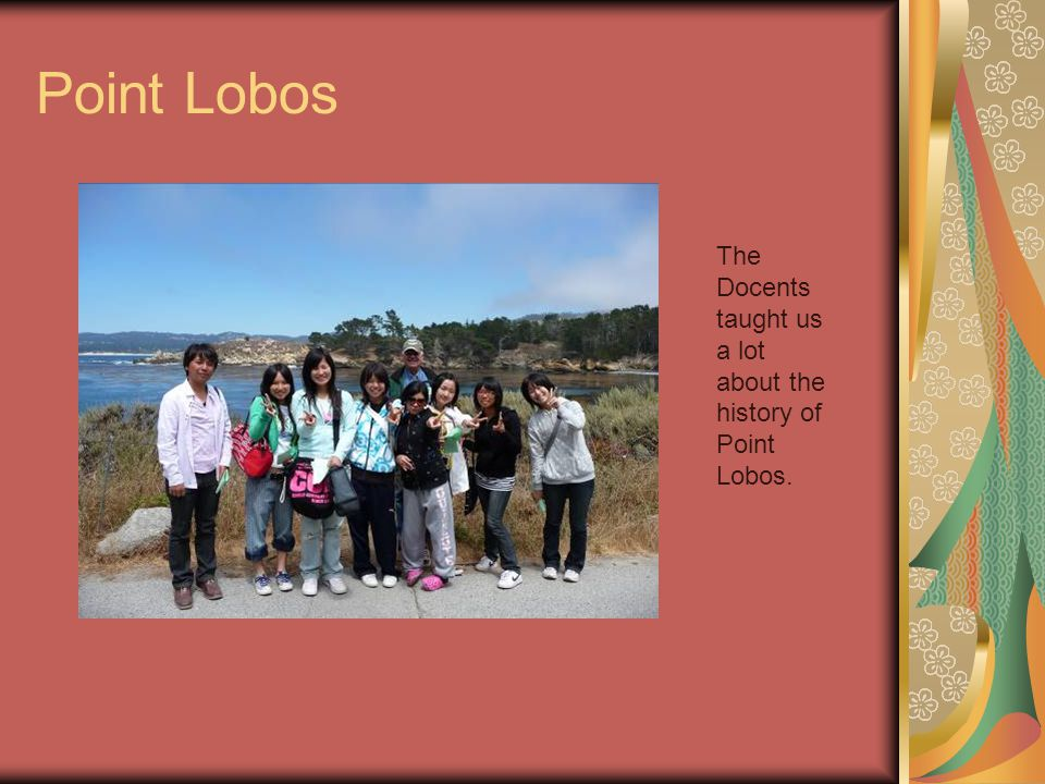 Point Lobos The Docents taught us a lot about the history of Point Lobos.