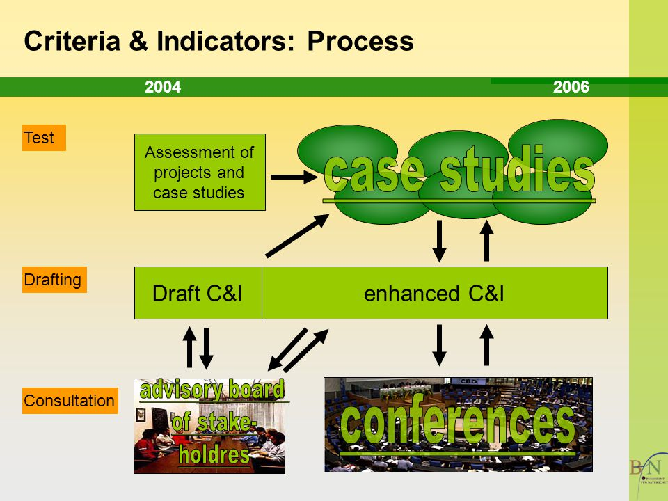 Drafting Test Consultation Draft C&I Assessment of projects and case studies 2004 2006 Criteria & Indicators: Process enhanced C&I