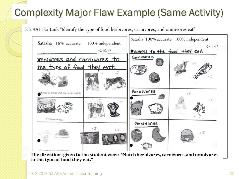 100 Complexity Major Flaw Example (Same Activity) 9/10/12 2/11/13 The directions given to the student were Match herbivores, carnivores, and omnivores to the type of food they eat.