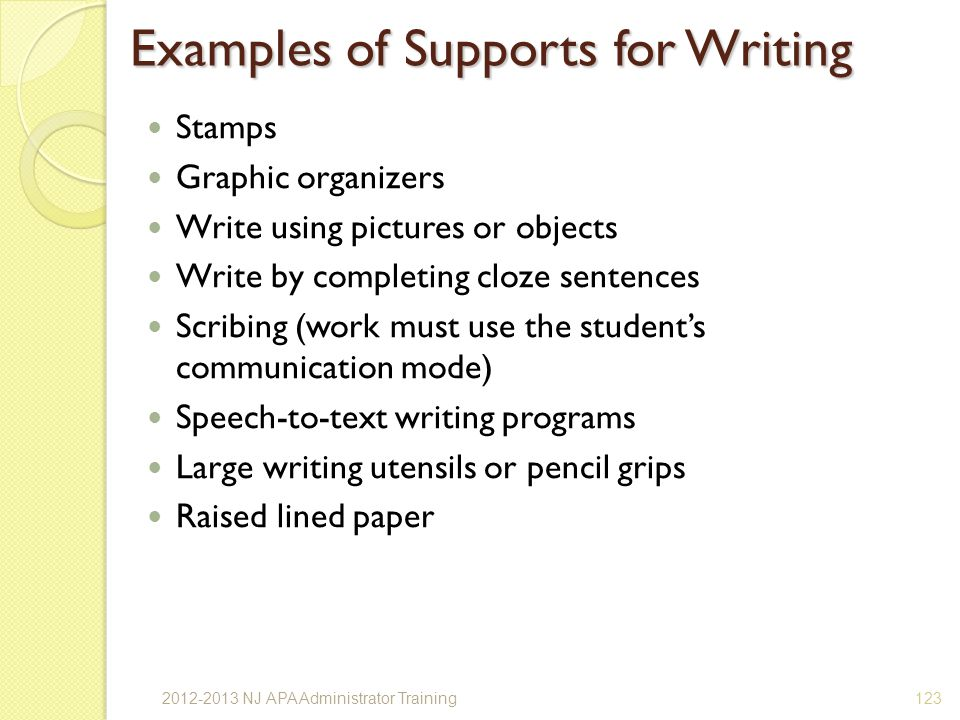 Examples of Supports for Writing Stamps Graphic organizers Write using pictures or objects Write by completing cloze sentences Scribing (work must use the students communication mode) Speech-to-text writing programs Large writing utensils or pencil grips Raised lined paper 1232012-2013 NJ APA Administrator Training