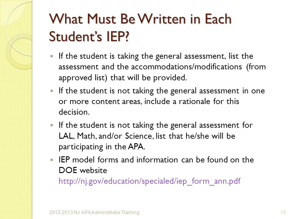 What Must Be Written in Each Students IEP.