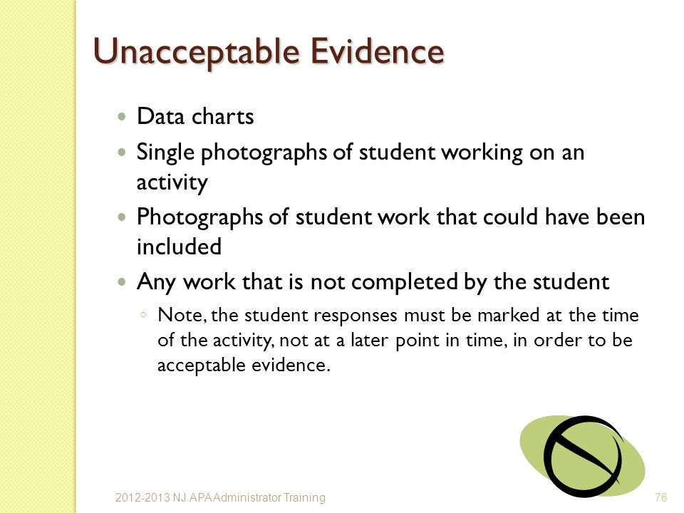 Unacceptable Evidence Data charts Single photographs of student working on an activity Photographs of student work that could have been included Any work that is not completed by the student Note, the student responses must be marked at the time of the activity, not at a later point in time, in order to be acceptable evidence.