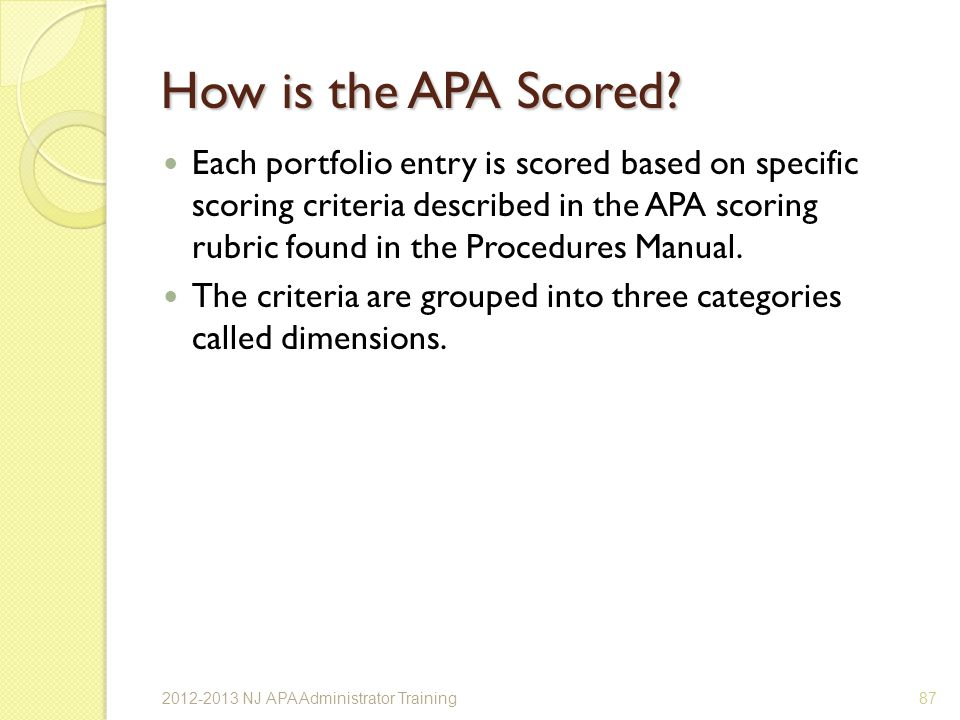 How is the APA Scored.