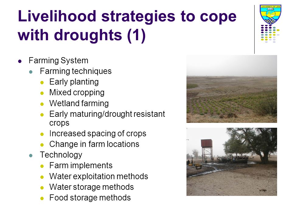 Livelihood strategies to cope with droughts (1) Farming System Farming techniques Early planting Mixed cropping Wetland farming Early maturing/drought resistant crops Increased spacing of crops Change in farm locations Technology Farm implements Water exploitation methods Water storage methods Food storage methods