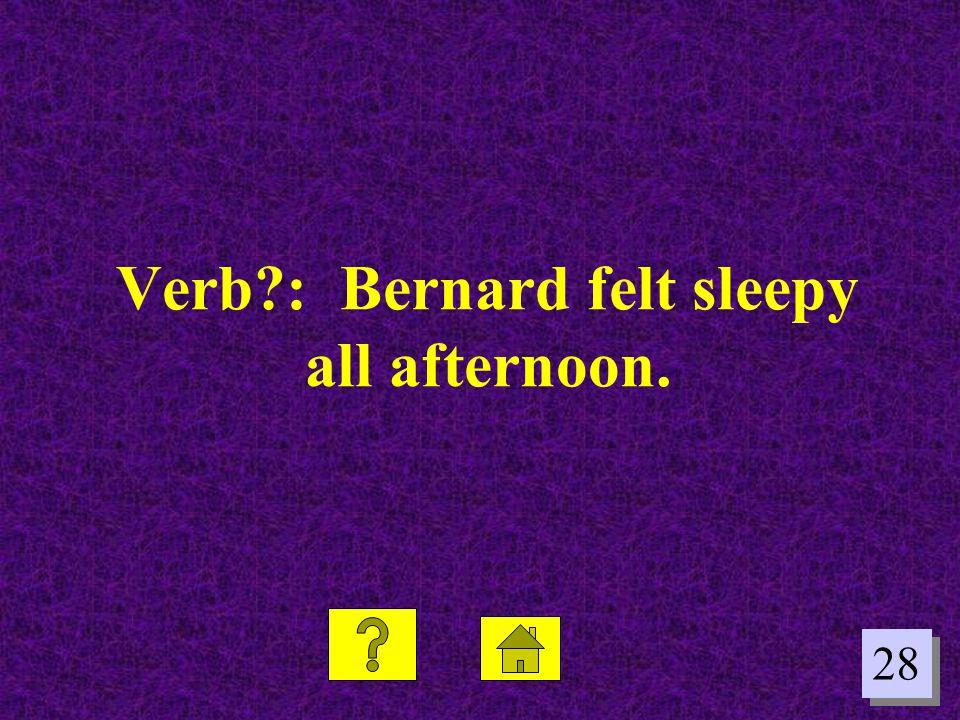 28 Verb?: Bernard felt sleepy all afternoon.