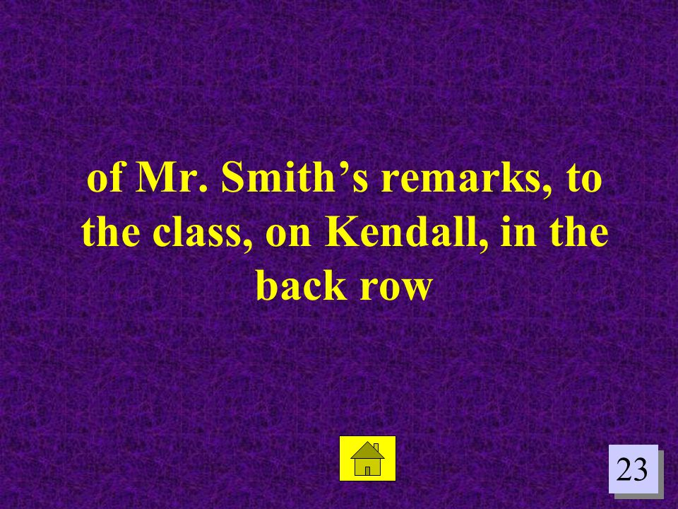 23 of Mr. Smiths remarks, to the class, on Kendall, in the back row