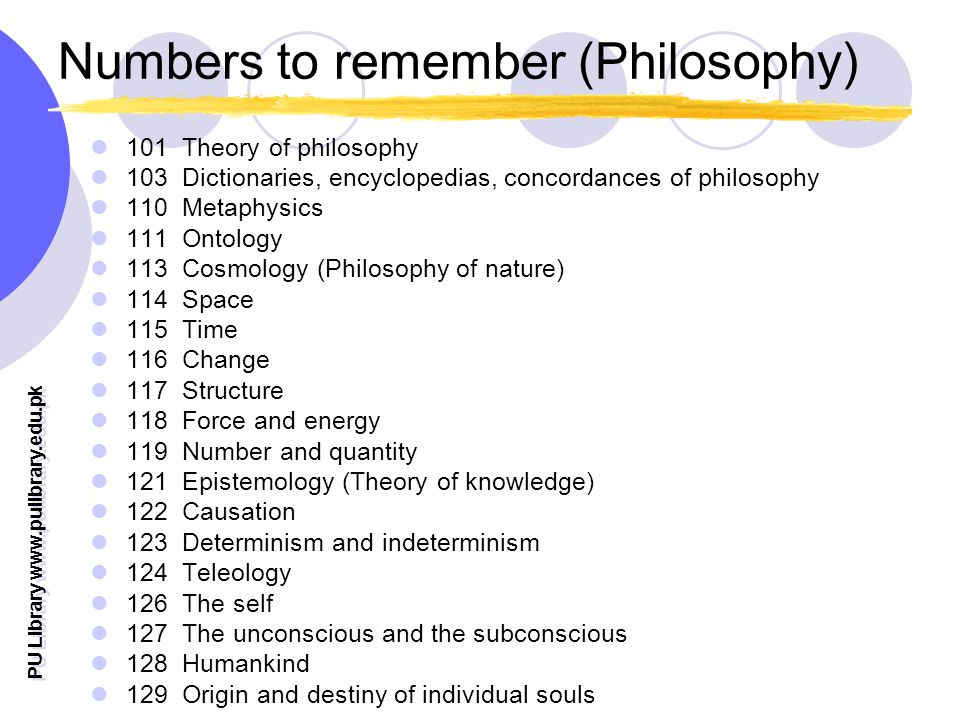 PU Library   Numbers to remember (Philosophy) 101 Theory of philosophy 103 Dictionaries, encyclopedias, concordances of philosophy 110 Metaphysics 111 Ontology 113 Cosmology (Philosophy of nature) 114 Space 115 Time 116 Change 117 Structure 118 Force and energy 119 Number and quantity 121 Epistemology (Theory of knowledge) 122 Causation 123 Determinism and indeterminism 124 Teleology 126 The self 127 The unconscious and the subconscious 128 Humankind 129 Origin and destiny of individual souls