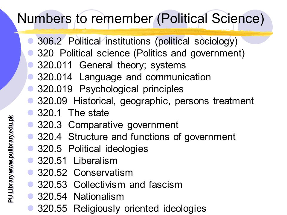PU Library   Numbers to remember (Political Science) Political institutions (political sociology) 320 Political science (Politics and government) General theory; systems Language and communication Psychological principles Historical, geographic, persons treatment The state Comparative government Structure and functions of government Political ideologies Liberalism Conservatism Collectivism and fascism Nationalism Religiously oriented ideologies