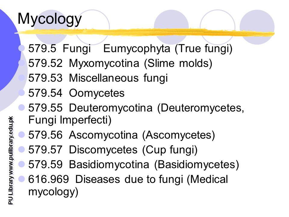 PU Library www.pulibrary.edu.pk Mycology 579.5 Fungi Eumycophyta (True fungi) 579.52 Myxomycotina (Slime molds) 579.53 Miscellaneous fungi 579.54 Oomycetes 579.55 Deuteromycotina (Deuteromycetes, Fungi Imperfecti) 579.56 Ascomycotina (Ascomycetes) 579.57 Discomycetes (Cup fungi) 579.59 Basidiomycotina (Basidiomycetes) 616.969 Diseases due to fungi (Medical mycology)