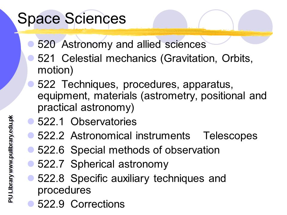 PU Library   Space Sciences 520 Astronomy and allied sciences 521 Celestial mechanics (Gravitation, Orbits, motion) 522 Techniques, procedures, apparatus, equipment, materials (astrometry, positional and practical astronomy) Observatories Astronomical instruments Telescopes Special methods of observation Spherical astronomy Specific auxiliary techniques and procedures Corrections