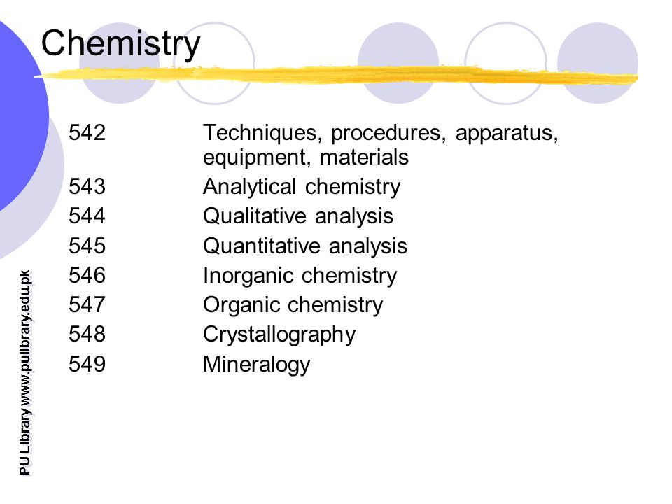 PU Library   Chemistry 542 Techniques, procedures, apparatus, equipment, materials 543Analytical chemistry 544 Qualitative analysis 545 Quantitative analysis 546 Inorganic chemistry 547 Organic chemistry 548 Crystallography 549 Mineralogy