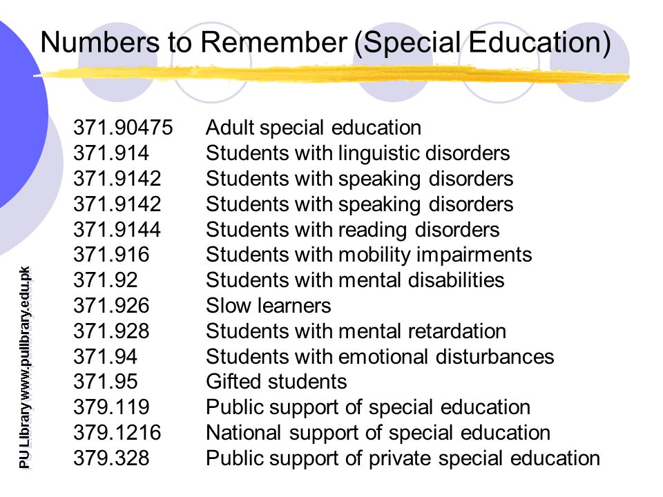 PU Library   Numbers to Remember (Special Education) Adult special education Students with linguistic disorders Students with speaking disorders Students with reading disorders Students with mobility impairments Students with mental disabilities Slow learners Students with mental retardation Students with emotional disturbances Gifted students Public support of special education National support of special education Public support of private special education