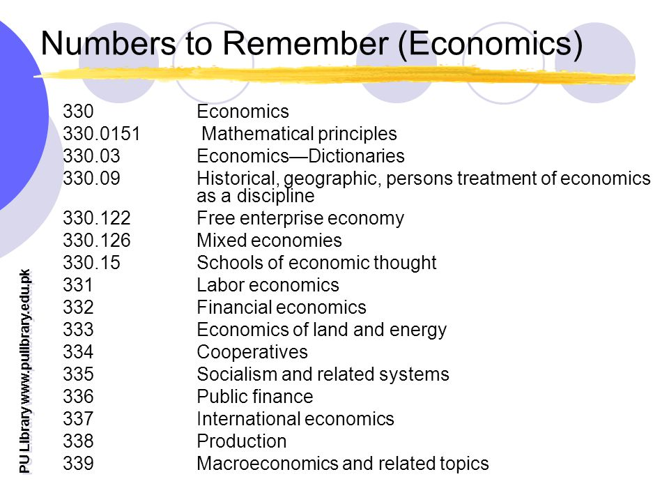 PU Library   Numbers to Remember (Economics) 330 Economics Mathematical principles EconomicsDictionaries Historical, geographic, persons treatment of economics as a discipline Free enterprise economy Mixed economies Schools of economic thought 331 Labor economics 332 Financial economics 333 Economics of land and energy 334 Cooperatives 335 Socialism and related systems 336 Public finance 337 International economics 338 Production 339 Macroeconomics and related topics
