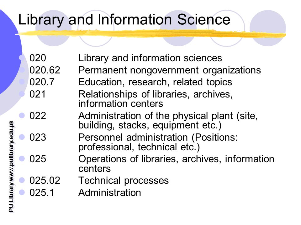PU Library   Library and Information Science 020 Library and information sciences Permanent nongovernment organizations Education, research, related topics 021 Relationships of libraries, archives, information centers 022 Administration of the physical plant (site, building, stacks, equipment etc.) 023 Personnel administration (Positions: professional, technical etc.) 025 Operations of libraries, archives, information centers Technical processes Administration